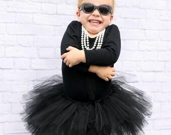 Audrey Hepburn black tutu skirt - Black Birthday Tutu -  Black Baby Tutu - Halloween Tutu Skirt - Black Toddler Tutu - Black Tutu Costume