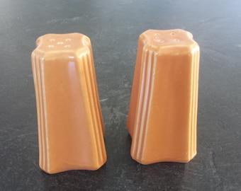 Vintage Mid Century Orange deco  salt and pepper shaker set