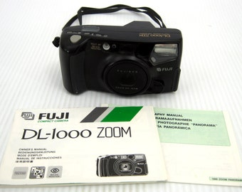 Fuji SLR 35mm Film Camera DL-1000 Zoom Auto Focus Drop in Loading Point & Shoot