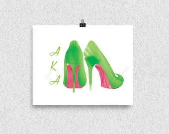 Stilettos, Fashion Illustration,AKA, Pink and Green, 8x10 print