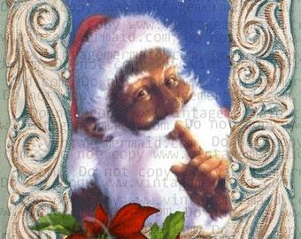 CHRISTMAS GREETINGS POSTCARD Black Santa Fabric Block cfbs26.