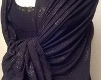 Scarf in black and silver color polyamide