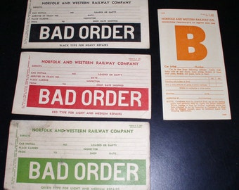 1950s Norfolk and Western Railway Company - Geniune Box Car Inspection Cards - Lot of 4