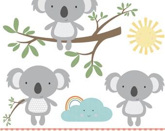 Koalas having fun, printable digital clipart set