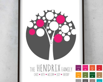 Personalised Family Tree Print Picture - Wedding Birthday Engagement Anniversary Christmas Gift Present