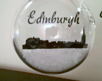 Edinburgh Skyline in the Snow Aacrylic Bauble can be Personalised