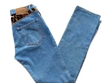 90's Studded Leopard Print High Waist Jeans