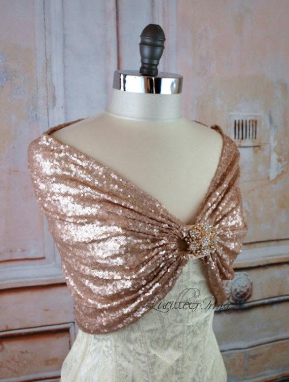 Blush Sequin Bridal Shawl Sequin Wedding Stole By