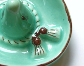 French signed vintage 1960 famous Vallauris glazed pottery ring tidy, kitch sombrero motif  decoration collection