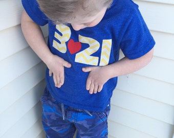 "Down Syndrome Awareness Shirts ~ Girls and Boys, Royal Blue T-shirt with Yellow ""321"" Lettering"