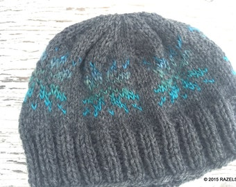 OMBRE Snowflake Hat, OMBRE BEANIE, Knit Ombre Hat, Blue Snowflakes,  Knit Beanie Adult, Ombre Hat, Womens Snowflake Hat