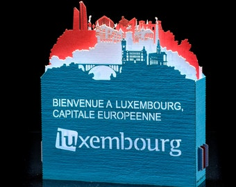 Pop up Card, 3d card, Luxembourg Flag, paper cut, paper craft, gift for her, gift for him, greeting card.