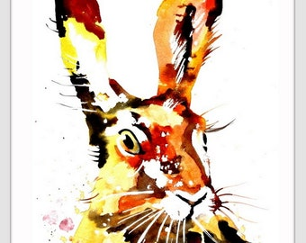 Watercolor Painting Print - 'RABBIT ' - Fall home decor and wall art -Art Print 094