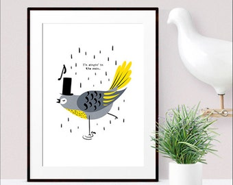 Singing bird nursery wall art print / Singing in the rain