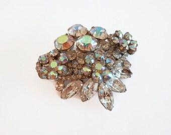 Vintage Prong-Set Aurora Borealis Rhinestone Brooch/Pin, Silver Tone Setting, Vintage Rhinestone Brooches/Pins