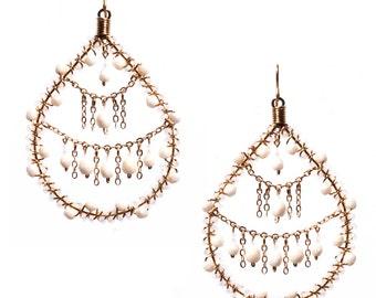 Teardrop Earrings, Pearl Color Earrings, Beaded Teardrop Earrings, Chandelier Earrings, Bridesmaid Earrings, Bridal Earrings, Beaded Hoops