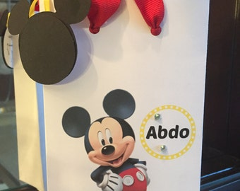 Mickey Mouse gift bag, (favor bag ) with Mickey's head tag