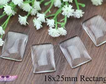 Rectangle Glass Cabochon 18x25mm - Magnify- Flat Back - Clear Glass Cover - Pendant Glass Cabochon - Glass Insert - High Clarity