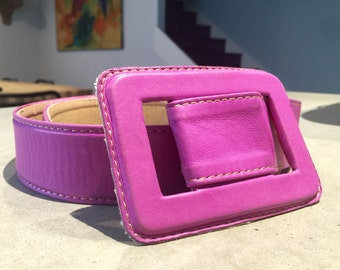 Chloe Paris Wide  Leather Belt and Buckle Bubble Gum Pink
