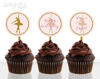 Instant Download Pink and Gold Ballerina / Ballet / Birthday Party Cupcake Toppers - Printable Digital File