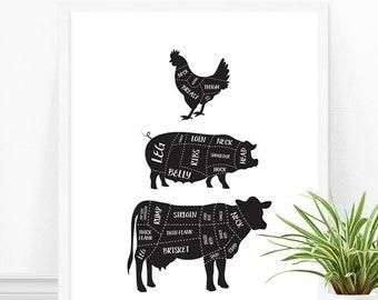 Butcher Print, Butcher Diagrams, Butcher Art, Kitchen Print, Kitchen Decor, Gift for Chef, Modern Kitchen, Black and White Butcher Print