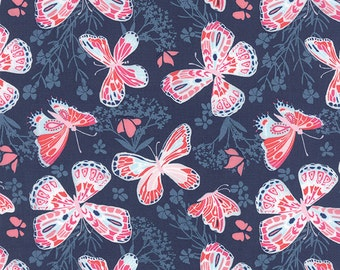 SALE Aria Butterfly Navy Blue Cotton Quilting Fabric 27230 16 by Kate Spain Moda Fabrics Pink and Blue Floral, UK Seller