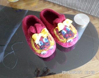 Handmade felted slipers-girl and boy