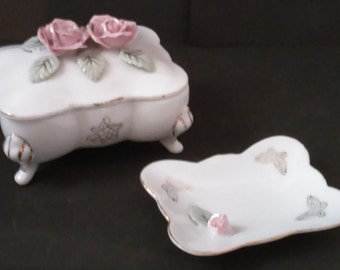 Vintage Footed Porcelain Cigarette Box & Ashtray With Raised Pink Roses and Hand Painted Gold Butterflies