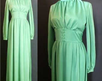 Vintage 70's Unique Green Grecian Goddess Empire Waist Glam High Neck Long Sleeves Festival Maxi Party Dress Wedding XS-S