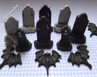 12 edible halloween cupcake cake decorations toppers bats tombs - Edible Halloween Decorations