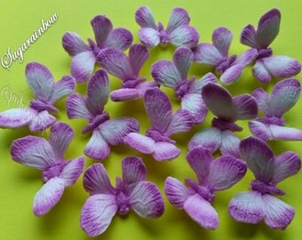 16 Edible sugar butterflies decorations  for cake cupcake toppers AIRBRUSHED Light Pink/Purple