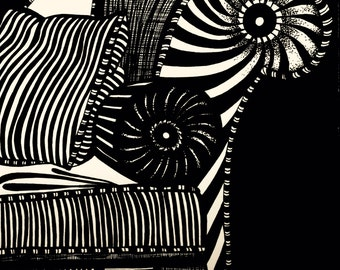 Black and white ink drawing - Striped Bolster