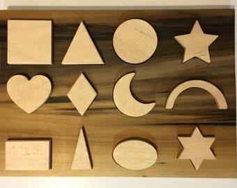 Wooden Shapes Puzzle, Shapes Puzzle, Heirloom Shapes puzzle, Montessori puzzle, learn shapes, wooden puzzle, waldorf puzzle, 12 piece puzzle