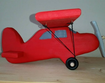 Wooden plane, red plane, airplane, Christmas Gift