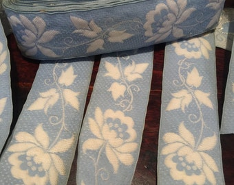 Vintage French Floral Embroidered Cotton jacquard ribbon, Blue on White Floral with dotted background