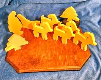 Vintage Woodlet Santa with Sleigh Reindeer Christmas Tree Set Home Decor No 1