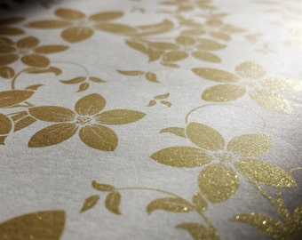 Gold Embossed Wrapping Paper - Golden Plum/Elegant/Fancy Gift Wrap/Premium Wedding Paper/Quality/Classy/Stationery/Flower /Gold