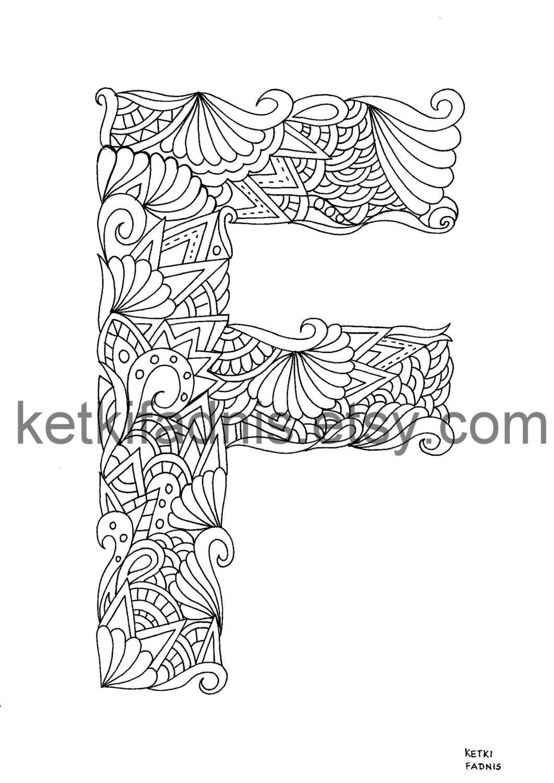 letter f coloring page instant pdf alphabet