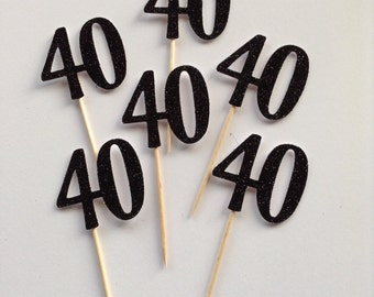 12 x Black Glitter 40th Cupcake Toppers, 40th Birthday Cake Toppers, 40th Birthday Party