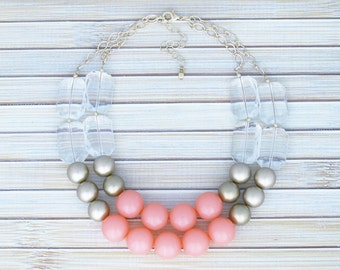 Coral Pink Beaded Choker Necklace - Crystal & Gold Statement Bib Necklace - Double Multi Chain Large Round Bead Necklace - Modern Jewelry