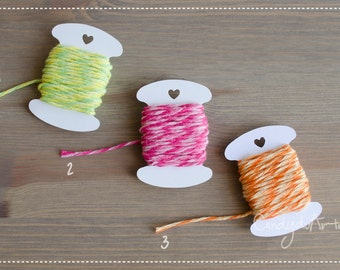 Mini Pack of 5 mt twine, cotton, green, pink, Orange-packaging-gift tags-tag-tags