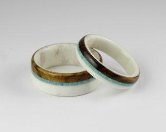 Deer Antler Wedding Ring Set With Turquoise and Rosewood Inlay/ Handmade Rings/Deer Rings