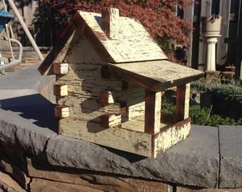 Rustic Indoor/Outdoor Log Cabin Bird Feeder