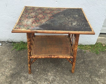 Lacquered scorched bamboo side table