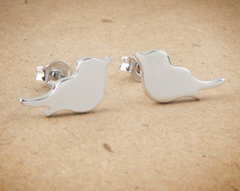 Bird Earrings, Silver Birds Studs, Silver Earrings, Bird Post Earrings, Cute earrings, Solid Gold Bird