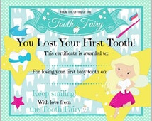 Tooth Fairy Certificate for first lost tooth