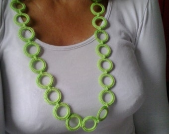 Green crochet ring necklace