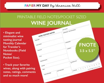 Wine Tasting Journal - Printable Wine Tasting Notes for Field Notes and Pocket Travelers Notebooks