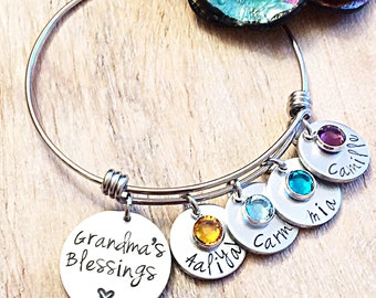 Grandma's Blessings Bracelet, Mothers Day Gift, Mothers Jewelry, Grandparents Day Gift, Gifts for Grammy, Gifts for Grandma, Personalized