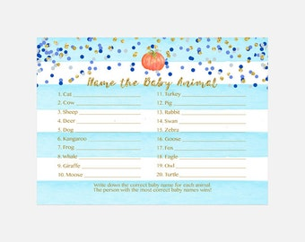 Pumpkin Baby Animal Name Game, Baby Shower Game, Blue and Gold, Blue Stripes Who's My Mommy Game, Instant Download PDF Printable